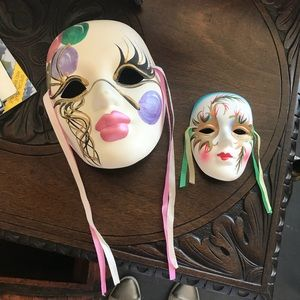 Ceramic Hand-painted Vintage Wall Art Clown Masks